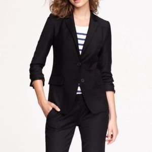 J Crew 100% Wool Black Button Blazer